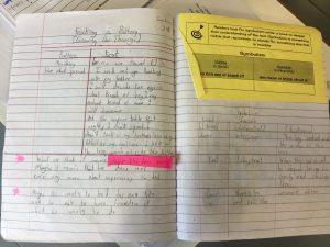 A student's reading notebook